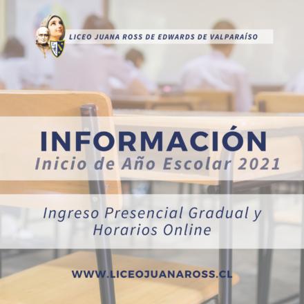 Información sobre inicio del año escolar 2021